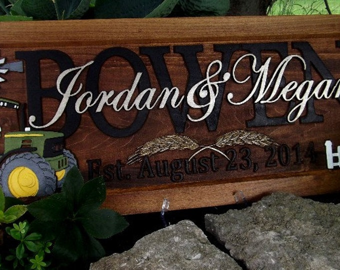 Farm Scene Green tractor Rooster barn Anniversary gift  Wedding gift  Personalized Carved Wooden Plaque  carved art