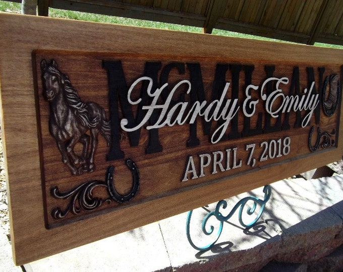 Rustic finish,Anniversary gift, Wedding gift, Personalized Carved Wooden Plaque