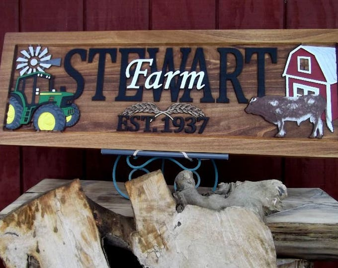 Farm Scene  Green tractor  Shorthorn bull Personalized Carved Wooden Plaque  carved art