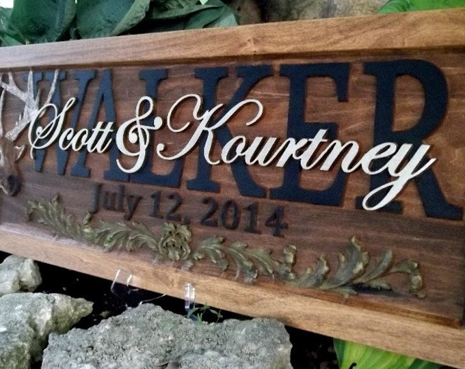 Deer Design / Anniversary gift / Wedding gift / Personalized Carved Wooden Plaque / carved art