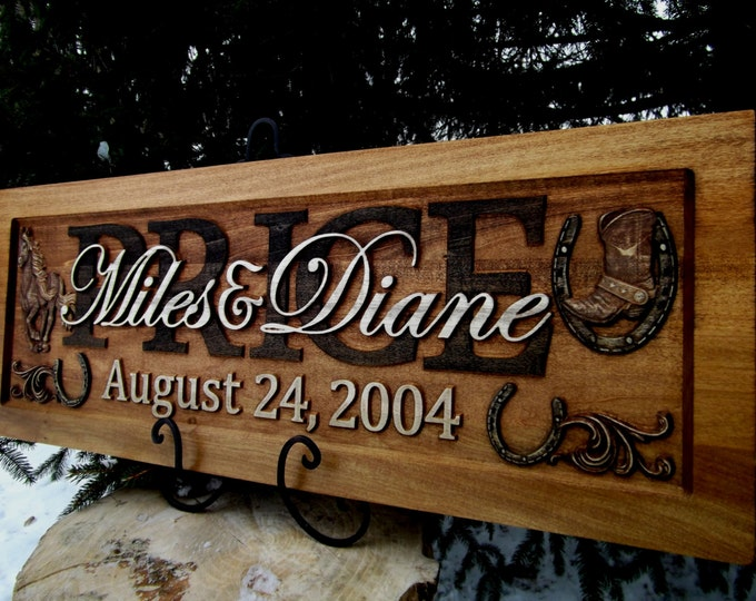 Rustic finish  Horseshoes Anniversary gift  Wedding gift  Personalized Carved Wooden Plaque  carved art