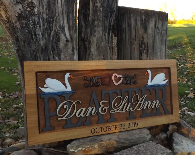 Swans and Hearts Wedding Anniversary Plaque  carved wood   painted lettering