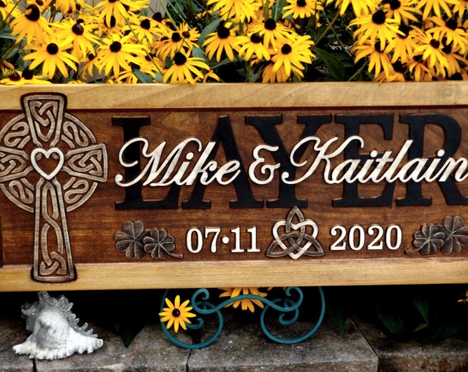 Celtic Cross  Golden Mahogany Rustic finish Family Symbol  Clover accents wedding anniversary gift
