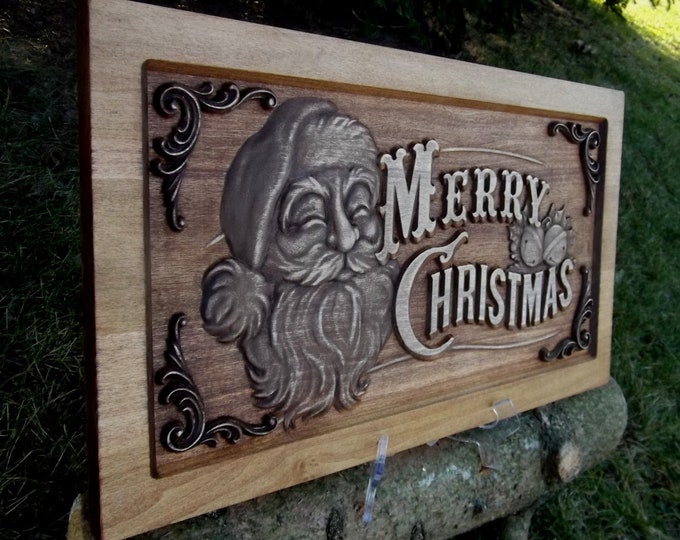 Merry Christmas , Rustic, Golden Mahogany stain, Free Shipping !!!!