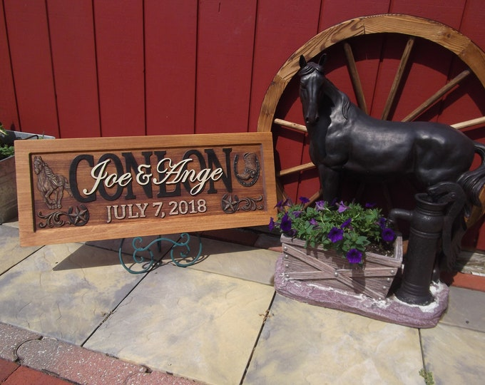 Ranch Plaque, Rustic Finish, horses, boots
