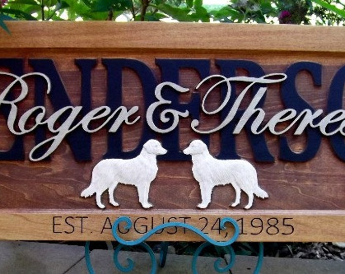 Retrievers  /Anniversary gift / Wedding gift / Personalized Carved Wooden Plaque / carved art