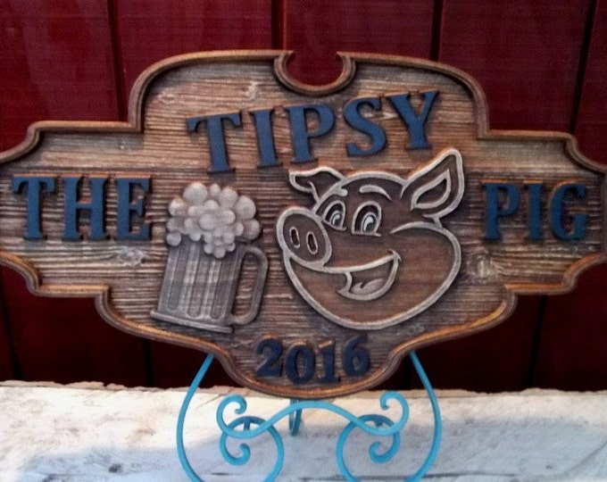 The Tipsy Pig man cave bar sign carved wood plaque sign