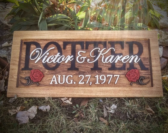 Rustic finish Wedding, painted roses, Anniversary Plaque !!!Free shipping!!!!!!