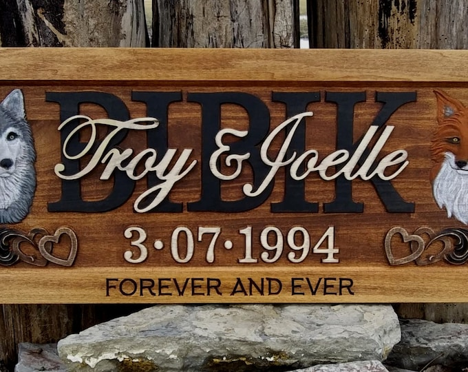 Rustic finish Wolf and Fox Anniversary gift  Wedding gift  Personalized Carved Wooden Plaque  carved art