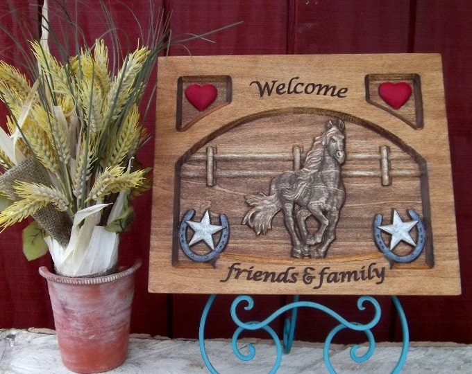 Welcome sign Mustang  horse Ranch carved wood