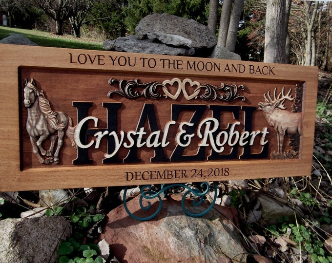 Rustic finish Anniversary Plaque, Elk, Horse , hearts