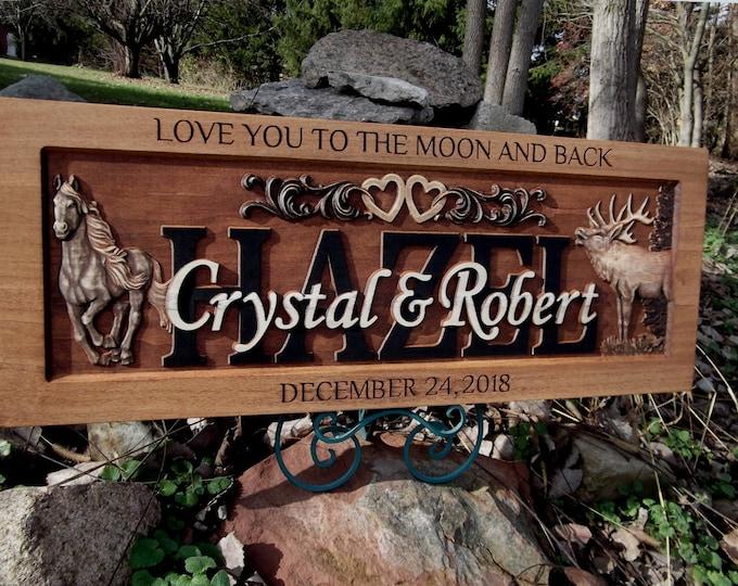 Rustic finish Anniversary Plaque, Elk, Horse , hearts