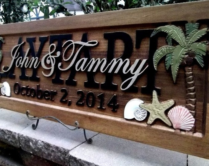 Palm Trees & Sea Shells  Anniversary gift  Wedding gift  Personalized Carved Wooden Plaque  carved art