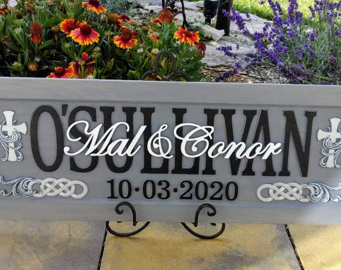 Wedding Anniversary Plaque  weathered grey finish