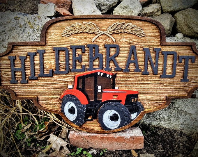 Farm Plaque / carved wood / rustic finish /