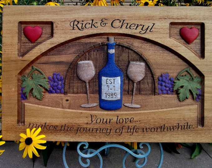 Wedding Anniversary wine plaque