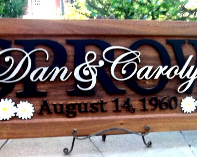 Butterflies and Daisies .Anniversary gift / Wedding gift / Personalized Carved Wooden Plaque / carved art