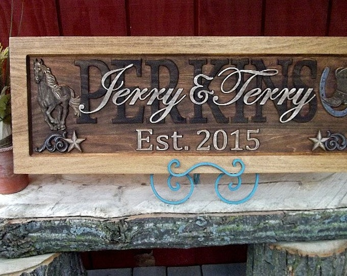Rustic Western  Stars  Brushed silver scroll and horseshoe Wedding gift Family Name Sign Last Name  CARVED Wooden  Anniversary  Couples