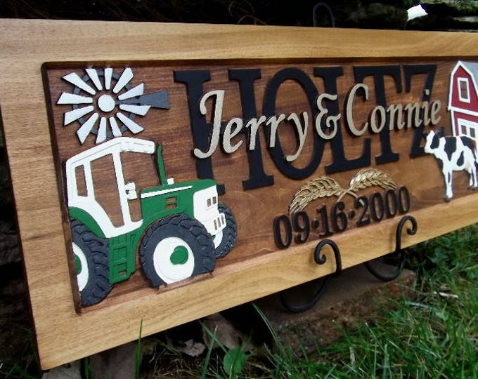 Farm Scene  Anniversary gift  Wedding gift  Personalized Carved Wooden Plaque  carved art