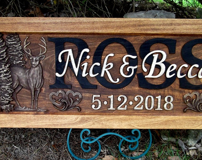 Anniversary Plaque, Rustic finish, Deer, hearts