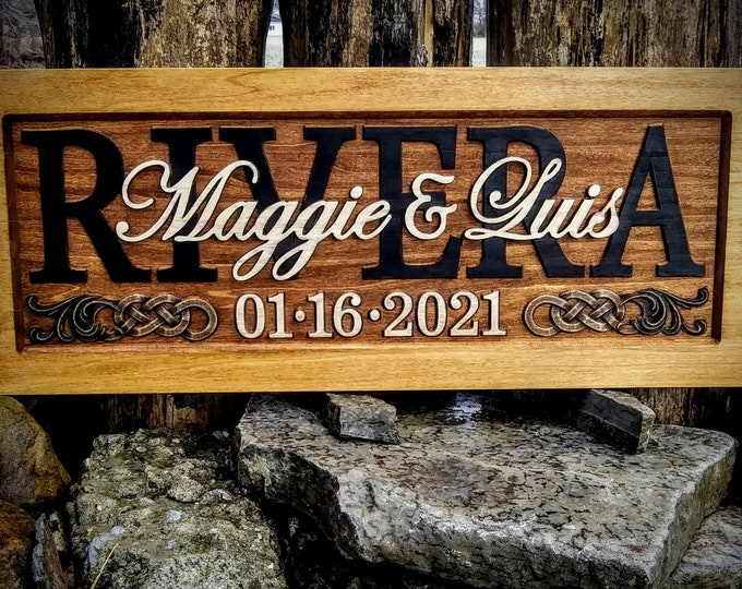 Rustic finish Wedding, Anniversary Plaque Celtic knots accents