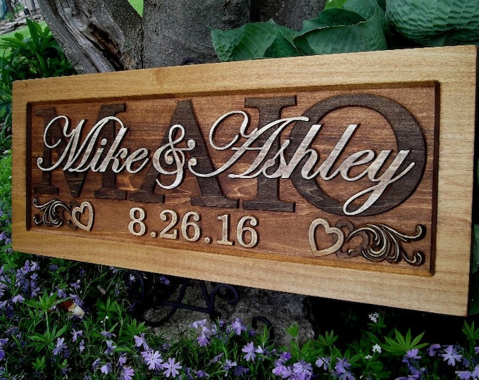 Rustic finish, Wedding gift, Family Name Sign, Numeric date, Custom CARVED, Wooden Plaque, Anniversary,  Est. Couples Love Present Signs