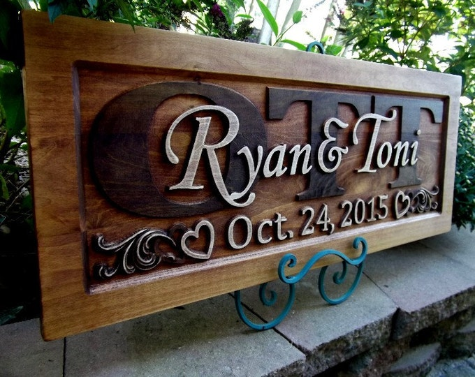 Rustic finish Casual Font Anniversary  Wedding Personalized Carved Wooden Plaque rustic