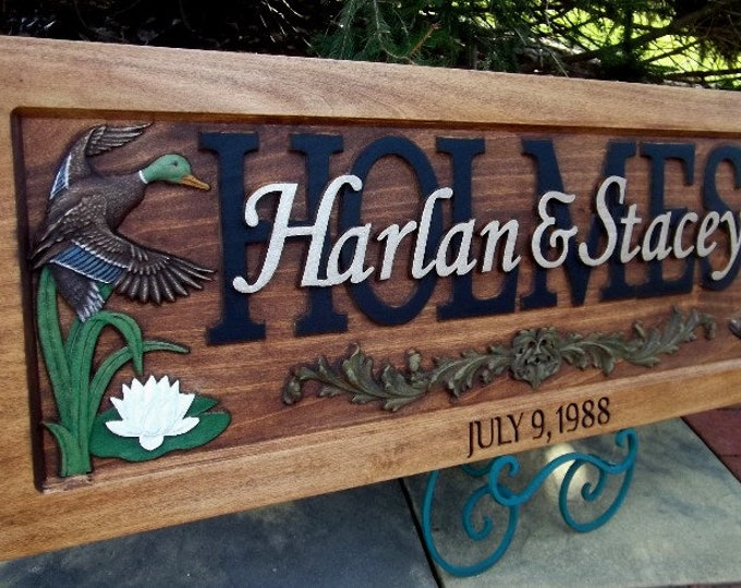 Anniversary Plaque, Rustic, ducks, Boots, hearts