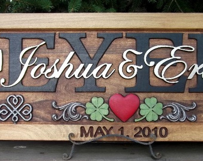 Celtic Cross  Crimson and Clover carved wood personalized family name