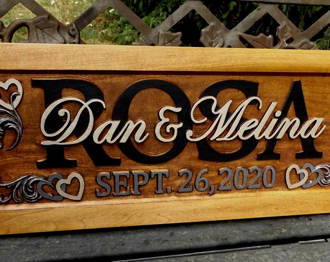 Wedding Anniversary Plaque  carved wood painted lettering.