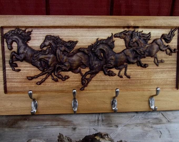Bridle rack,  Wild Horses, Stall sign,  4 hooks  Coat rack