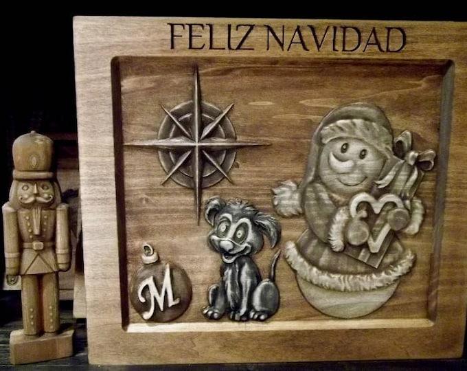 Feliz Navidad  Rustic Golden Mahogany Stain
