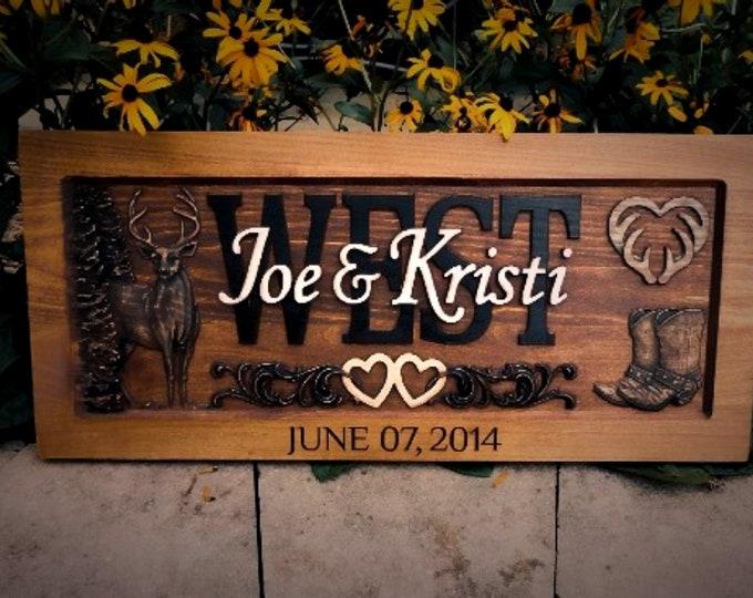 Rustic Anniversary Plaque,  Deer, Boots, hearts