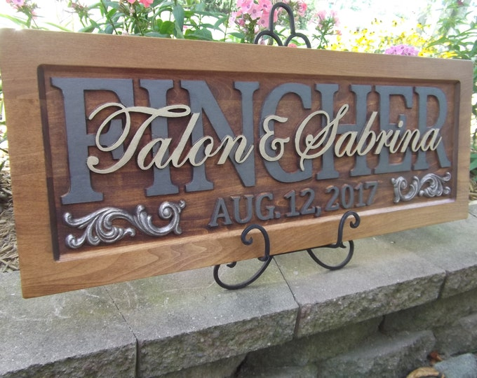 Personalized Family Name Sign, wedding gift,  Wooden Sign Last name Wedding Established Anniversary custom personalized sign
