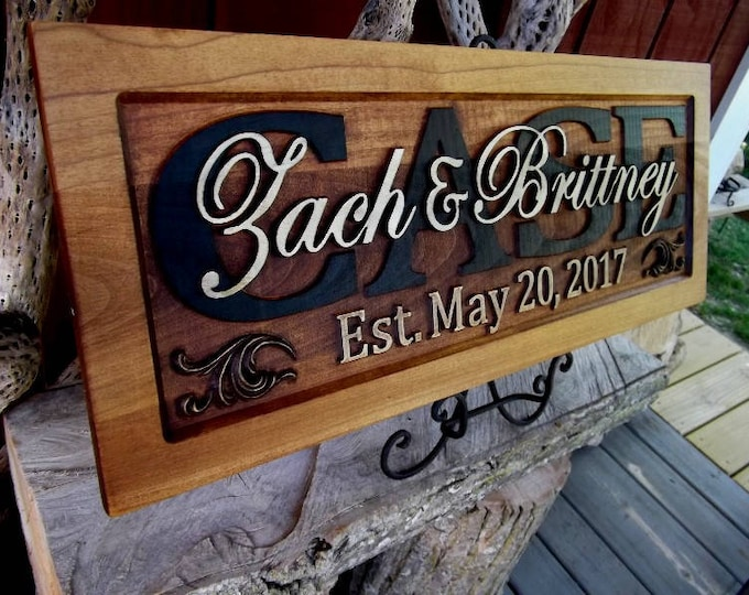 Rustic finish  Personalized Custom CARVED Wooden Plaque