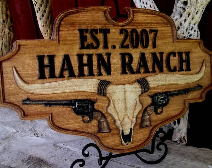Western Plaque / carved wood / rustic finish /