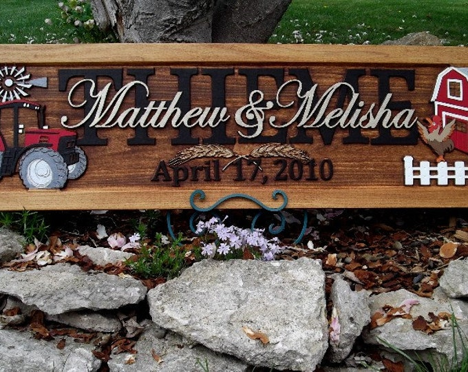 Farm Scene,  Red tractor,  Anniversary gift,  Wedding gift,  Personalized Carved Wooden Plaque,  carved art