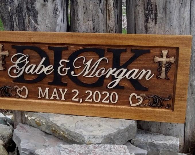 Wedding Anniversary Plaque  rustic finish