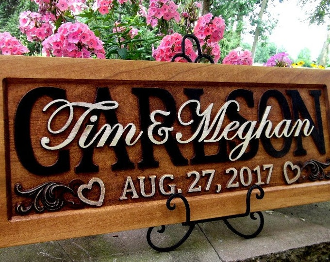 Rustic finish  Wedding gift Family Name Sign Last Name Personalized Custom CARVED Wooden Plaque Established Anniversary Est. Couples