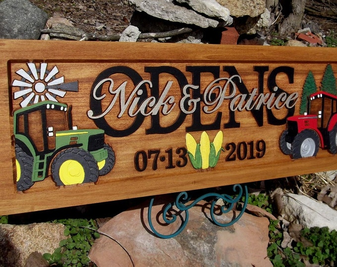 Farm Scene,  Anniversary gift , Wedding gift,  Personalized Carved Wooden Plaque,  carved art