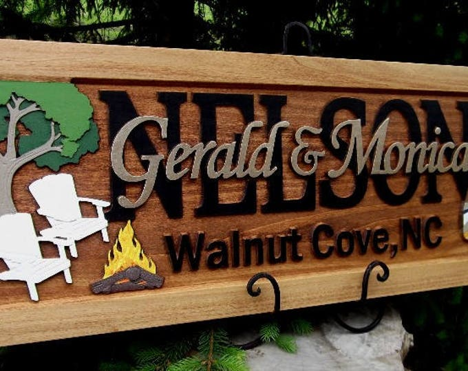 Camping scene  Personalized Carved Wooden Plaque