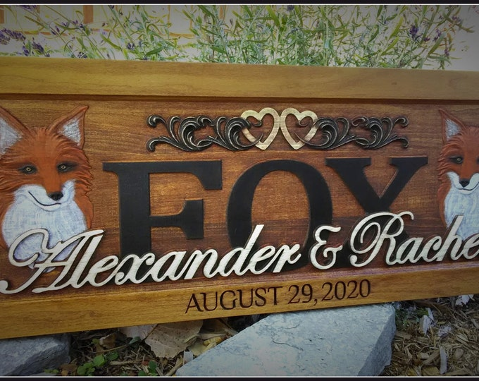 Rustic finish Fox and Fox Anniversary gift  Wedding gift  Personalized Carved Wooden Plaque  carved art