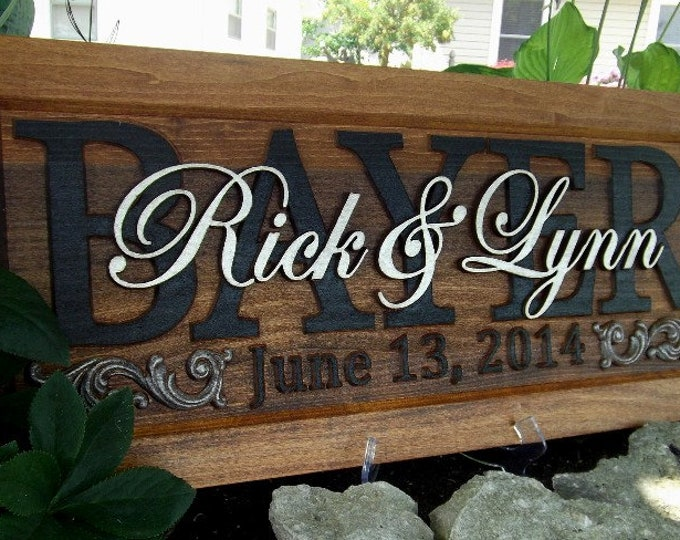 Anniversary gift, Wedding plaque, Black Surnames, Champagne Gold given names,  Personalized Carved  Plaque