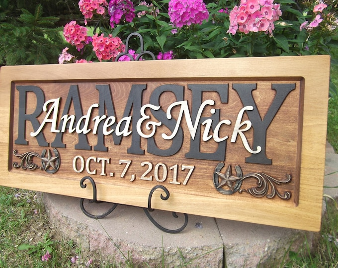 Rustic finish Horseshoe and Star corner option Anniversary  Wedding Personalized Carved Wooden Plaque rustic