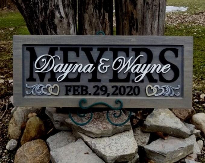 Anniversary / Wedding Plaque Weathered Grey finish