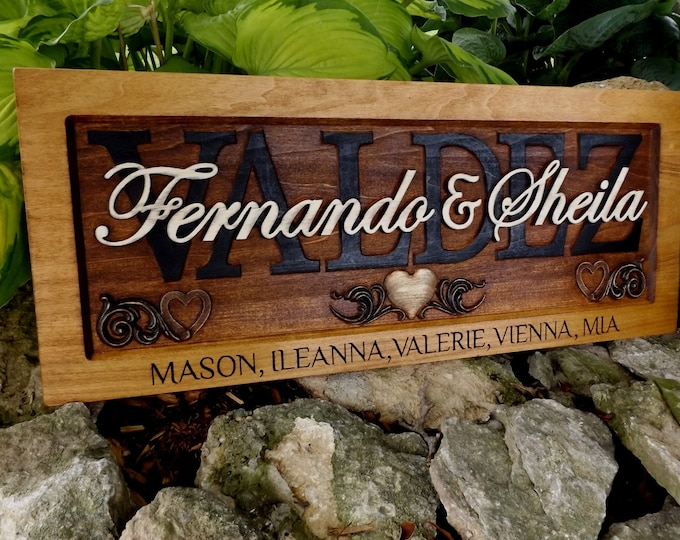 Family  /Rustic finish / Engraved family names in frame