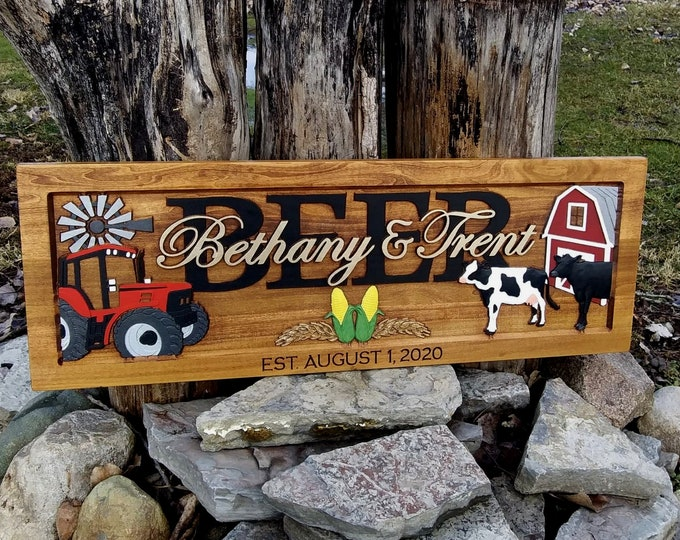 Family name plaque, Farm, cows, wheat and corn engraved date