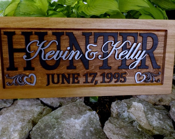 Anniversary gift, Wedding plaque, Black Surnames, Silver given names,  solid hearts
