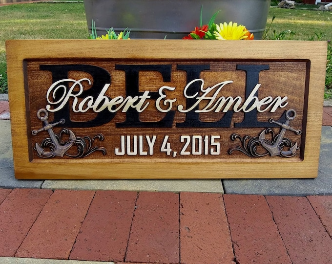Anchors and Waves  Rustic finish  Golden Mahogany stain