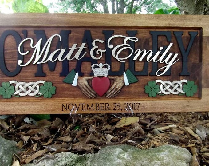 Irish Cladaugh , Celtic knotts, wedding anniversary gift, carved wood